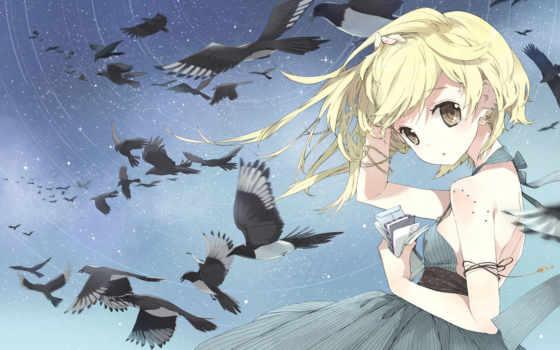 anime, девушка, ветер
