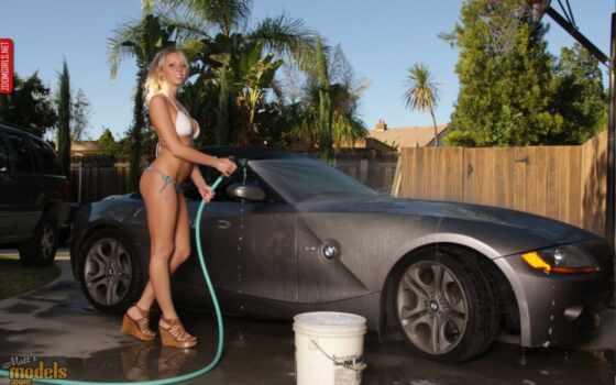 sexy, car, wash