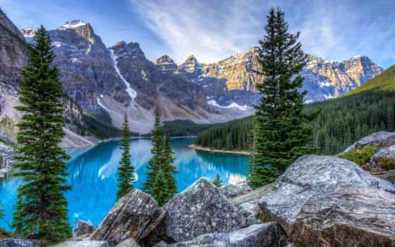 горы, landscape, озеро