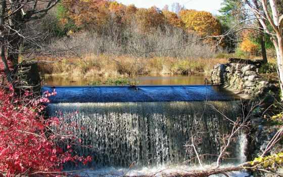 осень, trees, водопад, природа, река, картинка, листва, лес, hill, багрянец, connecticut,
