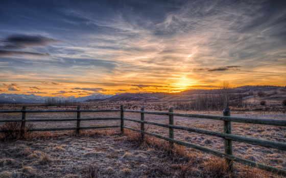 альберта, stoney, indian, канада, reserve, landscape, закат, забор, bff,