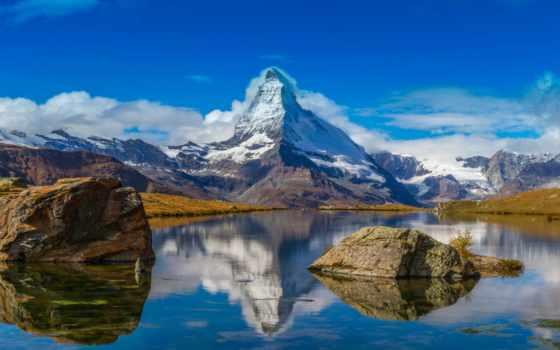 альпы, маттерхорн, swiss, швейцарские, гора, небо, italian,