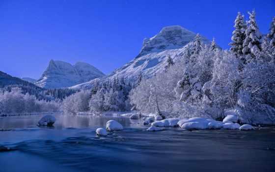 природа, winter, красивые, река, года, заставки, зимнего,