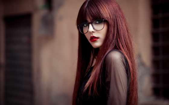 очки, девушка, волосы, настроения, очках,
