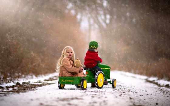 девушка, android, children, телефон, осень, ребенок, снег, дорога, winter, plein