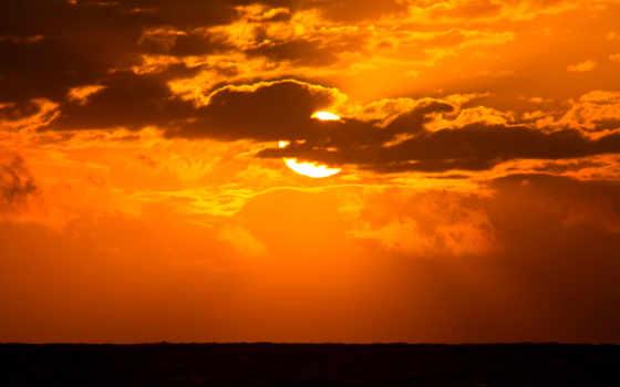 закат, облако, коллекция, небо, море, soleil, над, горизонт, sun
