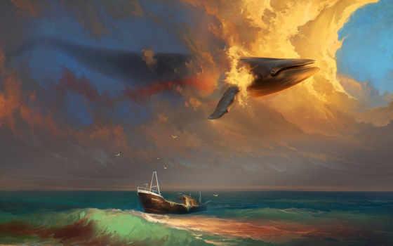whale, sky,