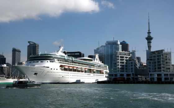 корабли, auckland, порт