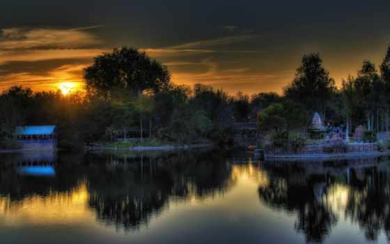 закат, озеро, coucher