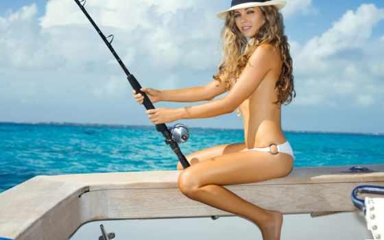 рыбалке, devushki, рыбалка