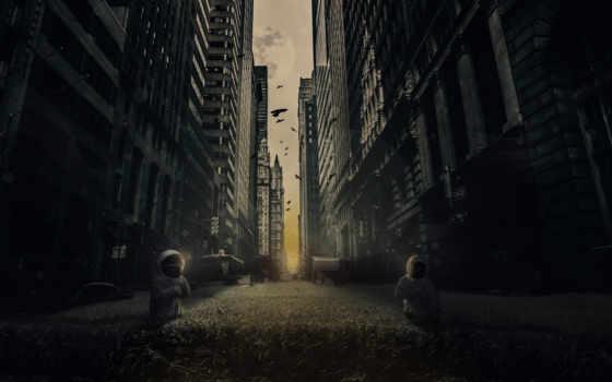 апокалипсис, город, скафандры, fantasy, desktopography, other, рисунки, пшеница,