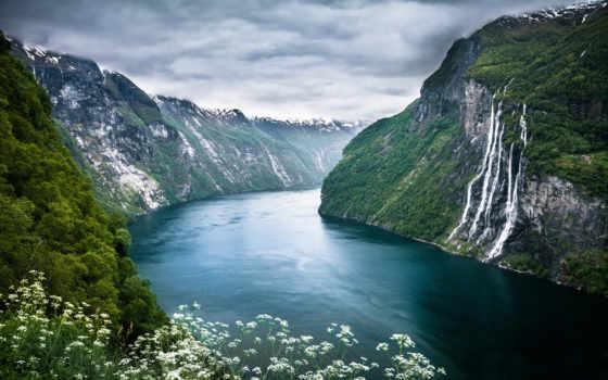 самые, следы, интересные, норвегии, fjord, geiranger, norwegian, tochka, горы, река,