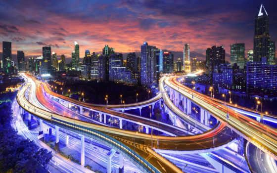 hong, kong, город, огни, китаянка, china, ночь, небоскребы, asian, свет,