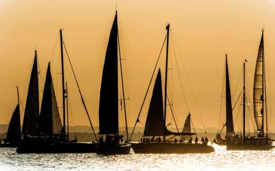 sail, яхта, небо, закат, озеро,