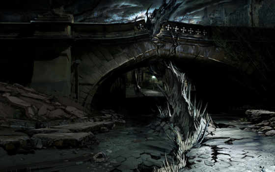 dark, ciudad, одиночка, ruinas, фотообои, noche, nueva,