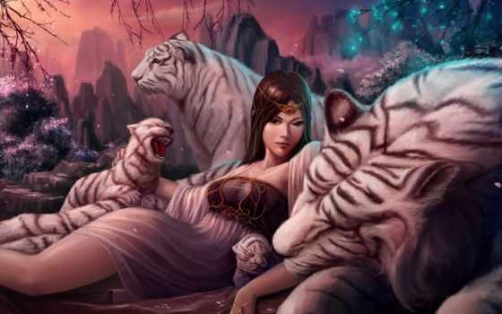 fantasy, девушка, тигр, devushki, схемы, тигры, white, art, лучшая,
