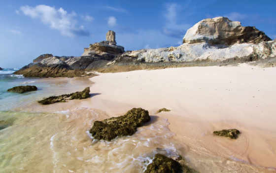 море, берег, rock, песок, камень, природа, закат, рисунок, небо