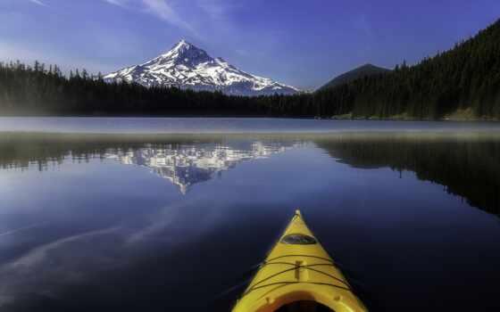 снег, город, гора, narrow, stoloboi, корабль, озеро, хороший, top, отражение