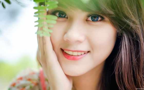 улыбка, девушка, лицо