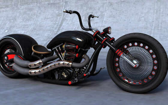 bike, chopper, black