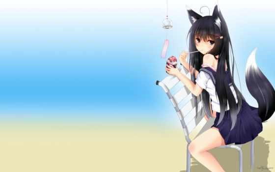 anime, девушка, кот Фон № 66954 разрешение 1920x1200