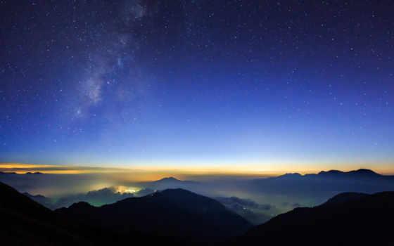 звездное, небо, огни