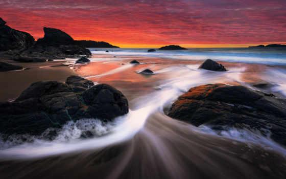 закат, пляж, берег, rocks, ручей, desktop,