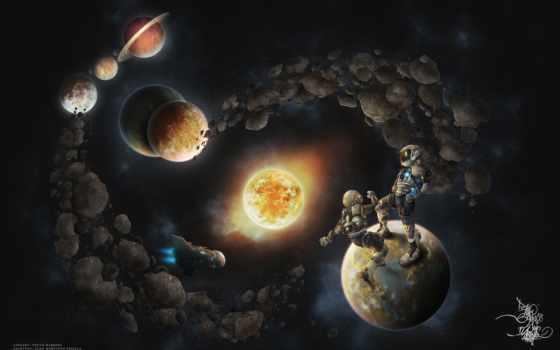 сатурн, планеты, cosmos, звезды, корабль, космонавты, дек, смотреть,