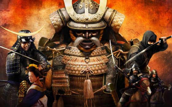 войны, катана, рога, меч, japanese, wide, стена, самурай, всадник, yellow, shogun,