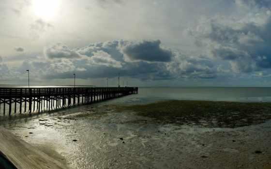 широкоформатные, пейзажи -, широкоэкранные, ocean, пирсы, море, water, берег, мосты, причалы,