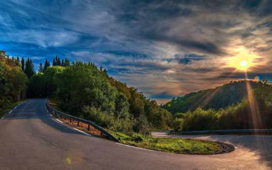 дорога, лес, поворот, асфальт, trees, холмы,
