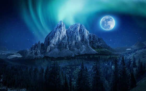 луна, northern, сияние, aurora, гора, start, небо, zetandel, feat, ночь