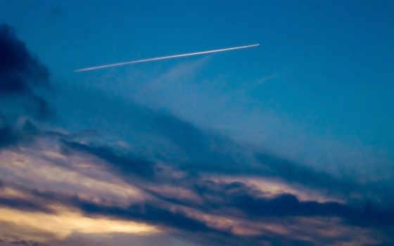 небо, airplane, comet
