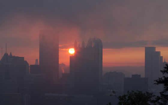 восход и туман