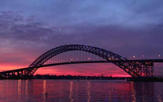 мост, new, bayonne, река, сша, нью, сумерки, jersey, usa,