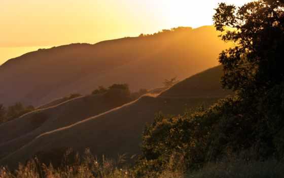закат, hills, трава, desktop, фон, photos, categories, bigpic,