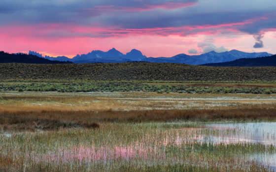 розовое, утро, пустыня, colorido, colorato, горы, природа, pantano,