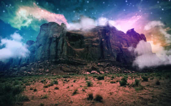 фантастика, фэнтези, fantasy, гора, oblaka,