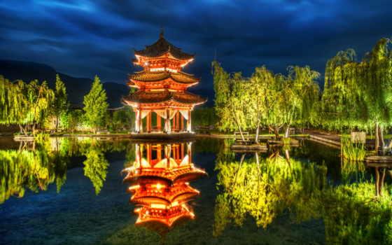 китаянка, пагода, природа, trees, china, park, озеро, беседка, lijiang, свет,