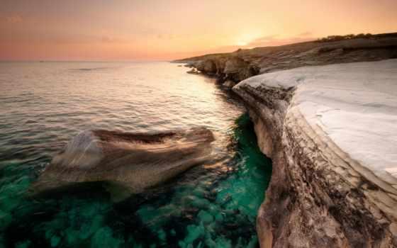 кипр, побережье, море, вечер, закат, берег, оранжевый, камни, небо, oblaka,