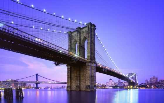 фотообои, мост, бруклин, нью, york, купить, интерьере, стену,