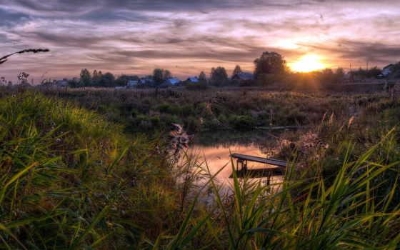 закат, пруд, поле