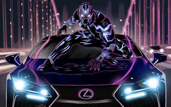 panther, black, artwork, marvel,