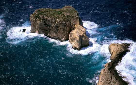 ocean, скалы, море, остров, мальта, пенка,