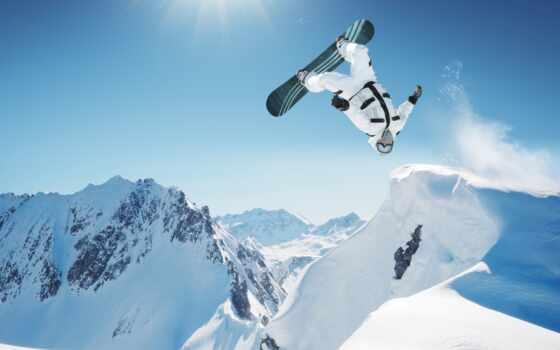 сноубордист, сноуборд, прыжок, спорт, снег, winter, гора