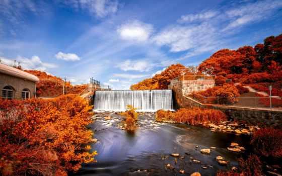 осень, водопад, лес,