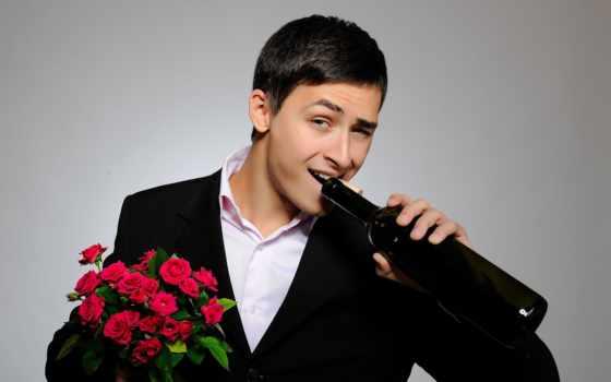 мужчина, цветами, красивыми, вином, накаченными, сексуальными, стильными, парень, мужчины,