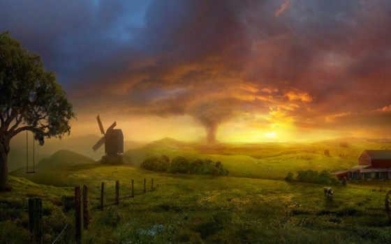 буря, закате, фотообои, торнадо, поле, качели, pictures, стену, mill,