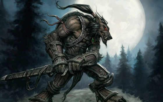 warcraft, world, worgen, ворген, луна, воин,