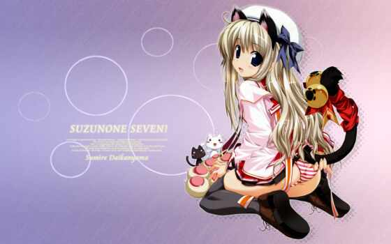 suzunone, seven, daikanyama, sumire, hitoshi, oshiki, seifuku, thighhighs, nekomimi, duplicate, moe, tail,